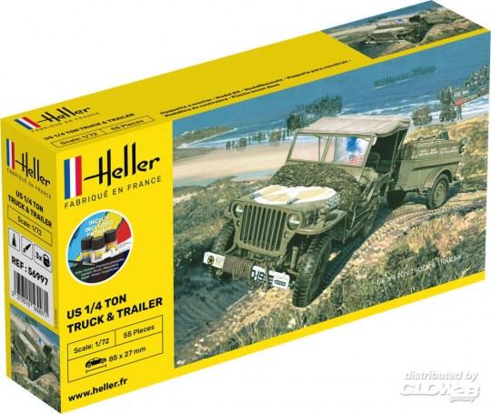 Heller - STARTER KIT US 1/4 Ton Truck Trailer