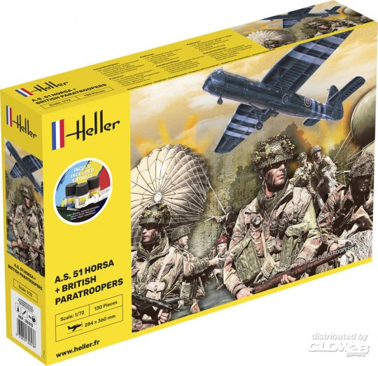 Heller: STARTER KIT A.S. 51 Horsa+ Paratroopers