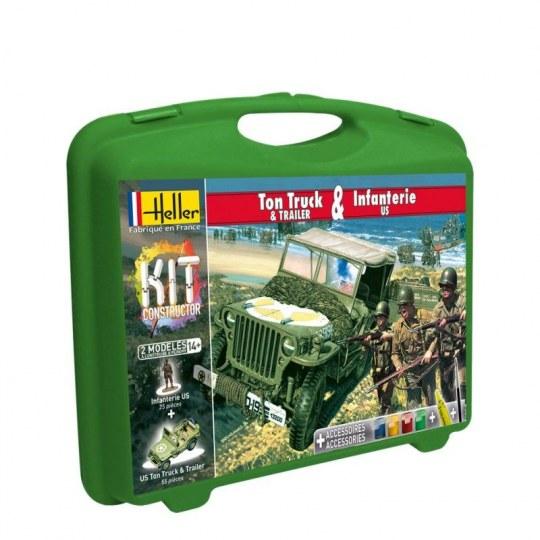 Heller - US 1/4 Ton Truck &Trailer+Infanterie US