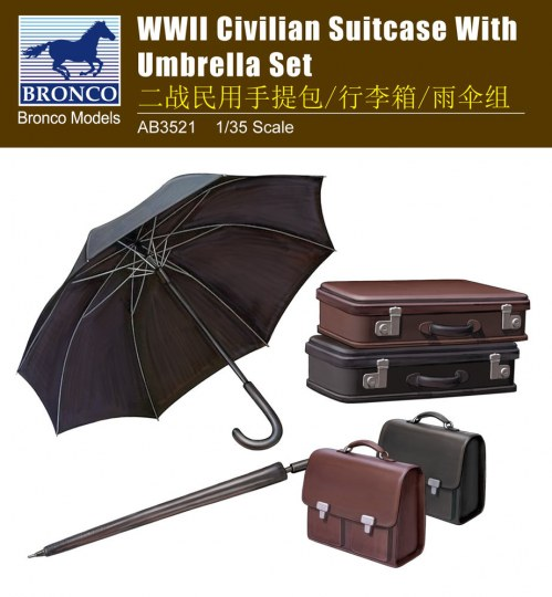 Bronco Models - WWII Civilian Suitcase with Umbrella Set