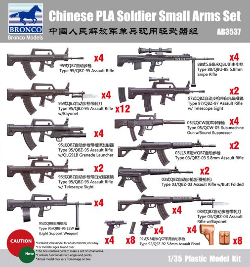 Bronco Models - Chinese PLA Solider Small arms Set