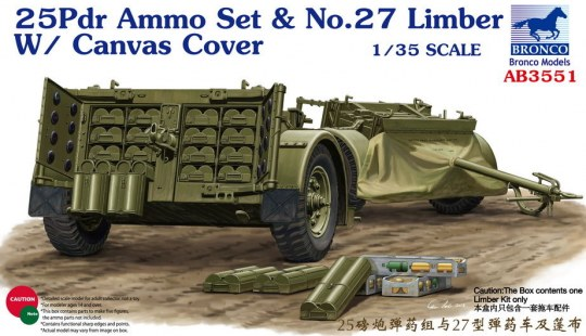 Bronco Models - 25pdr Ammo set&No.27 Limber w/CanvasCove