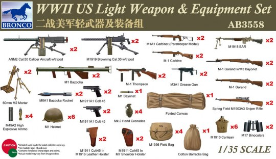 Bronco Models - WWII US Light Weapon & Equipment Set