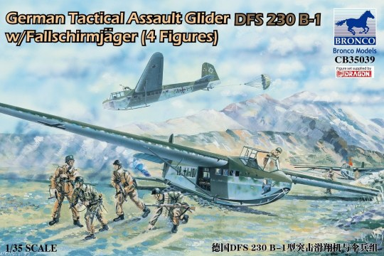 Bronco Models - German Tactical Assault Glider DFS 230 B-1 w/Fallschirmjäger (4 Figures)