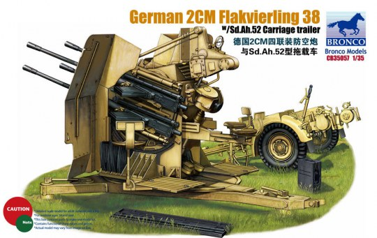 Bronco Models - German 2cm Flakvierling 38 w/trailer