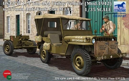 Bronco Models - US GPW 4x4 Light Utility Truck w/37mm Anti-Tank Gun M3A1