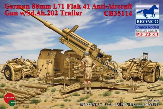 Bronco Models - German 8.8cm L71 Flak41 Anti-Aircraft Gun w/Sd.Ah.202 Trailer