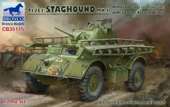 Bronco Models - T17E1 STAGHOUND MK.I Armored Car (Late Produktion)w.12 Feet Assault Bridge