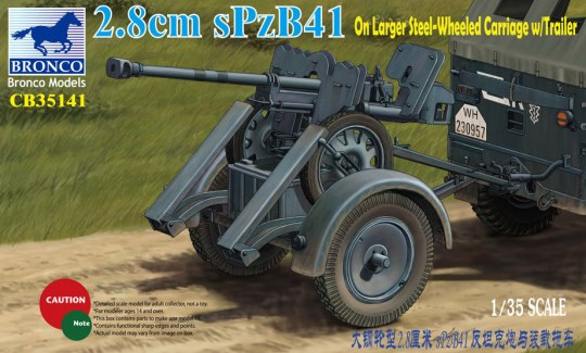 Bronco Models - 2.8cm sPzb41 On Larger Steel-Wheeled carriage w/Traile