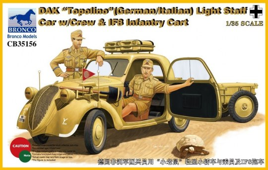 Bronco Models - DAK Topolino (German-Italian)Light Staff Car w/Crew & IF8 Intantry Cart