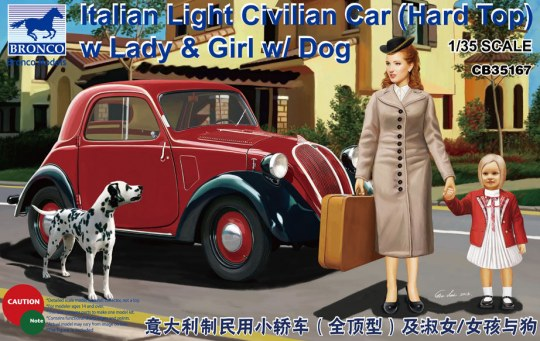 Bronco Models - Italian Light Civilian Car (Hard Top) w/Lady & Girl