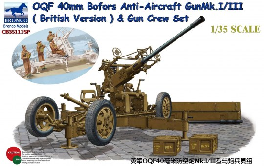 Bronco Models - OQF Bofors 40mm Anti-Aircraft Gun Mk. Mk.I/III (British Army)&Gun Crew Set