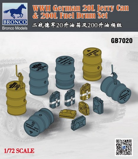 Bronco Models - WWII German 20L Jerry Can & 200L Fuel Drum Set