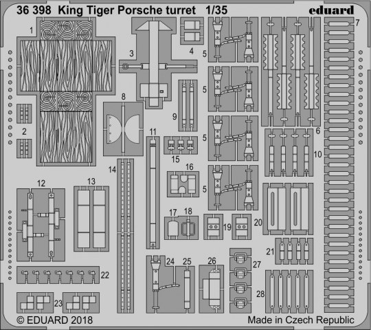 Eduard - King Tiger Porsche turret for Meng