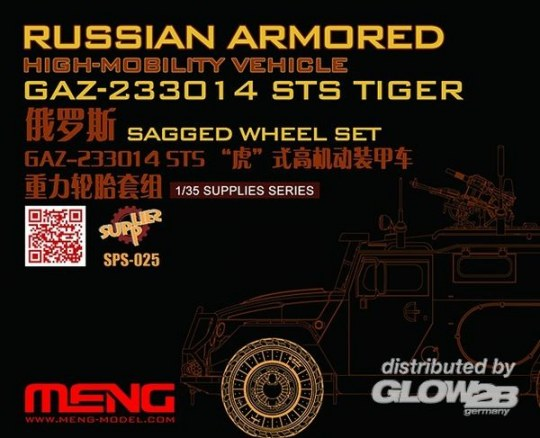 MENG-Model - Russian Armored High-mobility VehicleGAZ 233014STS Tiger Sagged WheelSet in 1:35