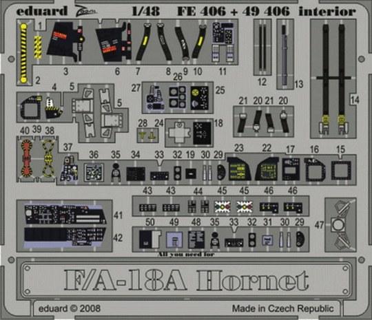 Eduard - F/A18A Hornet interior s.adh. für Hobby Boss Bausatz