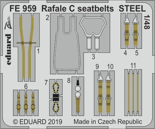 Eduard - Rafale C seatbelts STEEL for Revell