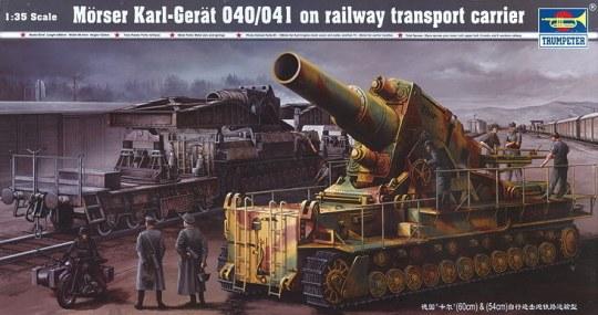 Trumpeter - Mörser Karl Gerät 040/041 auf Eisenbahn-Transport-Trailer