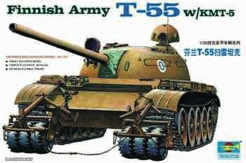 Trumpeter - Finnischer Panzer T-55 mit Minenräumer