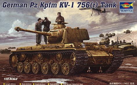 Trumpeter - German Pz.Kpfm. KV-1 756(r) Tank