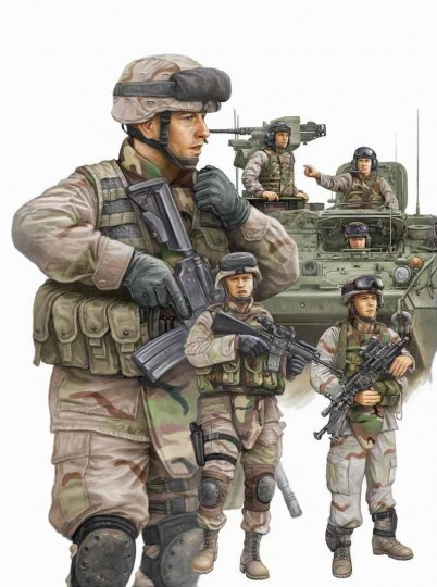 Trumpeter - Modern U.S. Army Armor Crewman & Infantry
