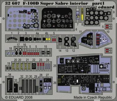 Eduard Accessories 32607 F-100D Super Sabre interior für Trumpeter Bausatz in 1